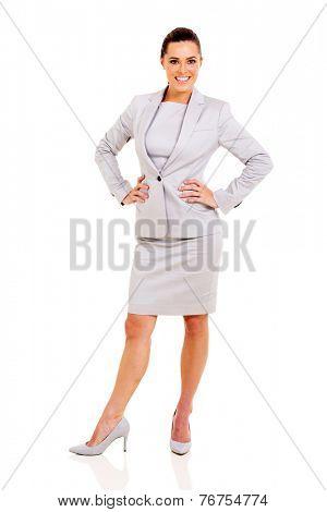 full length portrait of cute career woman posing on white