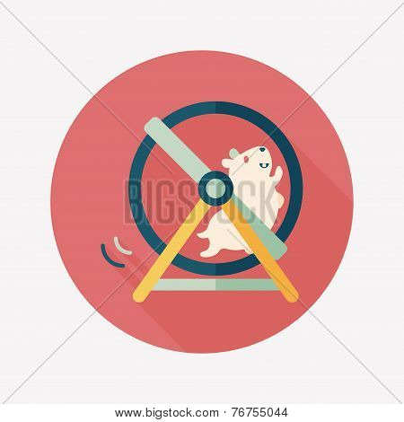 Pet Mouse Exercise Wheel Flat Icon With Long Shadow,eps10