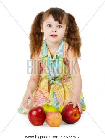 Emotional Surprised Girl With Apples Sit On White