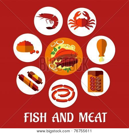 Seafood and mat flat icons