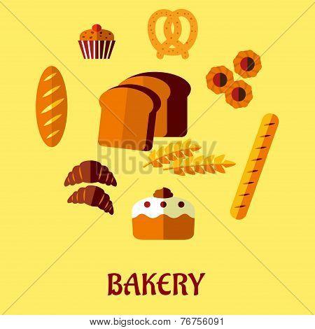 Bakery flat icon set on yellow background