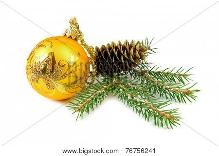 christmas ball and cone tree isolated on the background