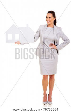 successful real estate agent holding paper house isolated on white background