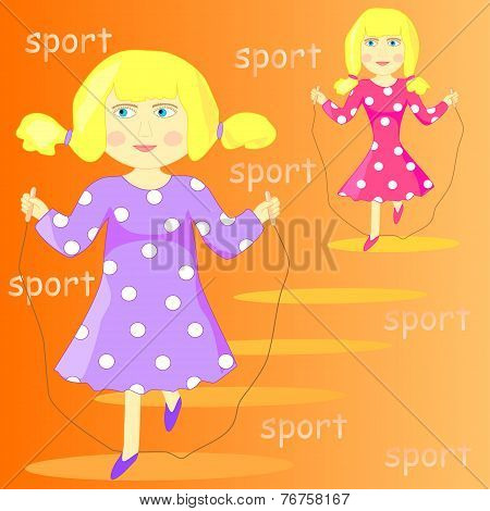 Illustration of a cartoon girl with skipping rope