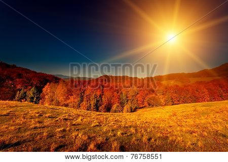 Colorful autumn landscape. Carpathian mountains, Ukraine, Europe.