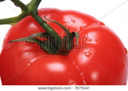 red fresh tomato with water drops on white isolated background