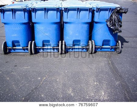 Blue Trash Containers