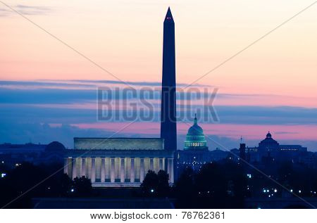 Washington DC skyline at sunrise including Lincoln Memorial, Washington Monument and United States Capitol building