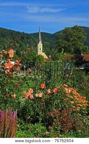 Spa Gardens Schliersee And Church, Bavarian Health Resort