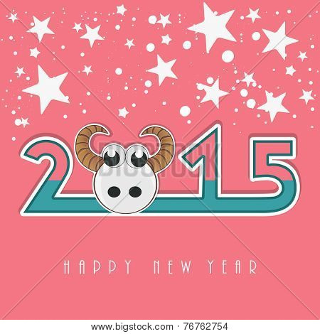 Kiddish greeting card design with stylish text and sheep on star decorated pink background.