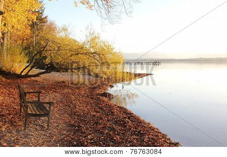 Lake Shore Starnberg Lake With Bench