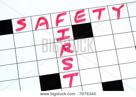 Safety First text in a cross word puzzle