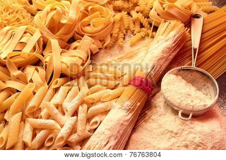 Mix of pasta with white flour