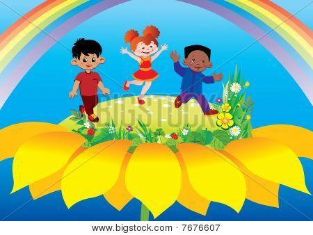 Children on flower.