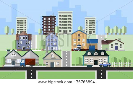 Residential house buildings