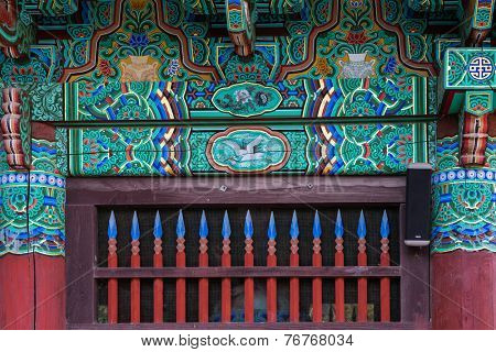 detail of temple gateway, Korean architecture