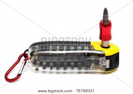 Modern set screwdriver on a white background