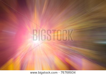 Flare And Red And Yellow Color Radial Motion Blur Abstract Of Buddha Statue