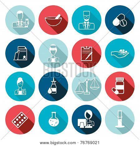 Pharmacist icon outline set