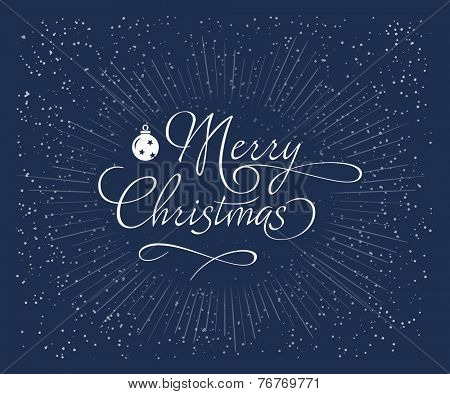 Blue Christmas background with snowflakes. Christmas greeting card with snowflakes. Merry Christmas holidays decoration. Vector illustration