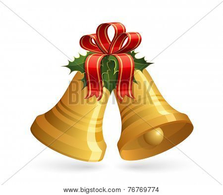 Christmas bells with red bow and holly. Vector illustration