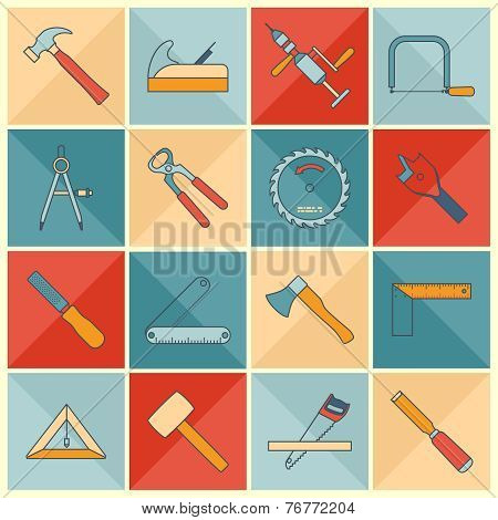 Carpentry tools flat line icons