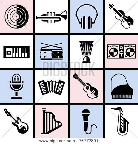 Musical instruments black set