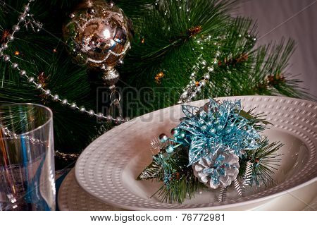Table Set For Christmas Dinner With Decoration Blue And Silver