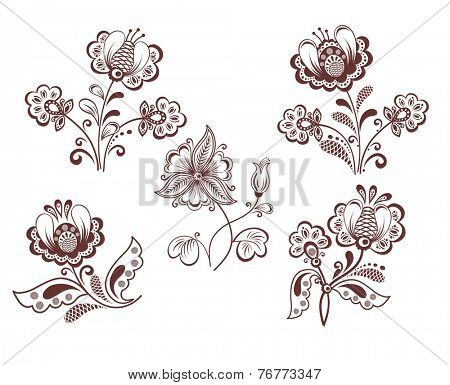 Retro flowers. Raster copy