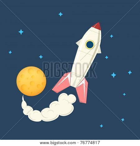 Spaceship In Space, Vector Illustration