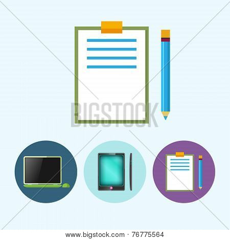 Set Icons With  Laptop, Notebook , Phone, Gadget, Clipboard With A Pencil,  Vector Illustration