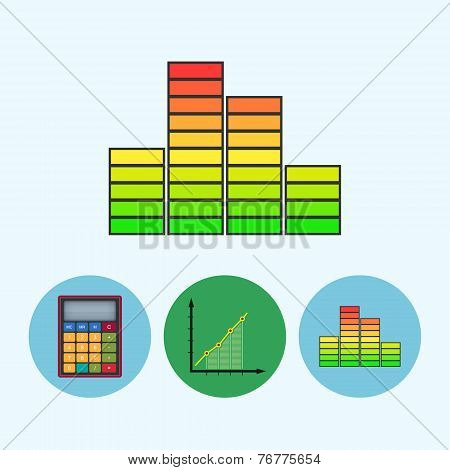 Set Icons With  Calculator, Indicator, Diagram, Infographics, Chart, Schedule,  Vector Illustration