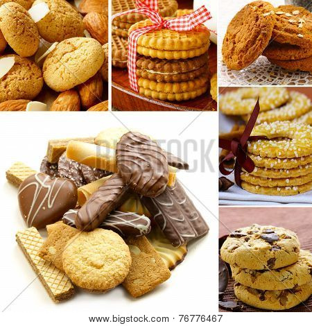 collage of different kinds of cookies (almond, ginger, oat, chocolate)