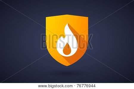 Long Shadow Shield Icon With A Flame