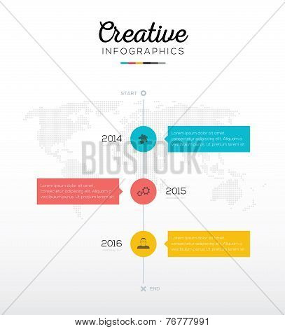 Timeline infographic with three options in flat business colors