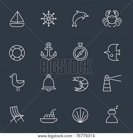 marine icons, thin line design, dark background