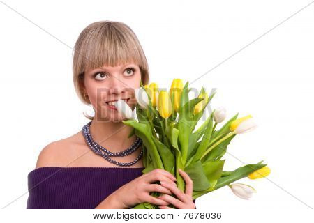Woman With Tulips