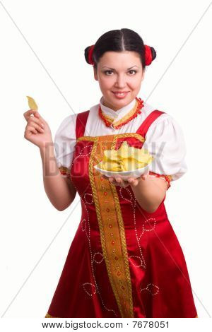 German/bavarian Woman With Potato Chips