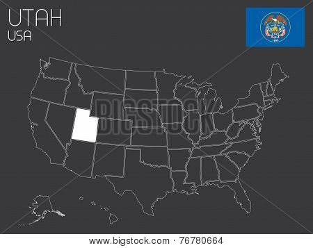 Map Of The The United States Of America With 1 State Selected - Utah