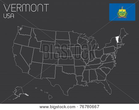 Map Of The The United States Of America With 1 State Selected - Vermont