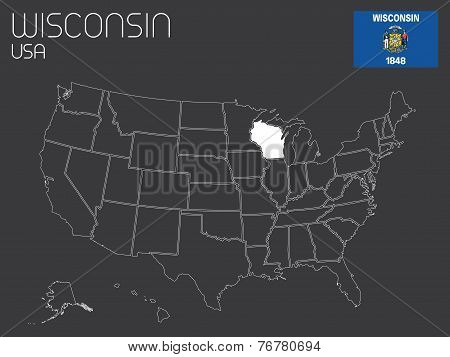 Map Of The The United States Of America With 1 State Selected - Wisconsin