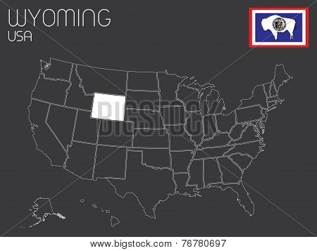 Map Of The The United States Of America With 1 State Selected - Wyoming