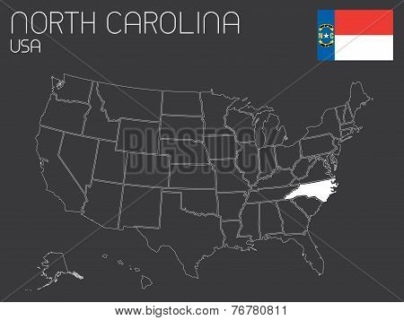Map Of The The United States Of America With 1 State Selected - North Carolina