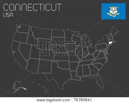 Map Of The The United States Of America With 1 State Selected - Connecticut