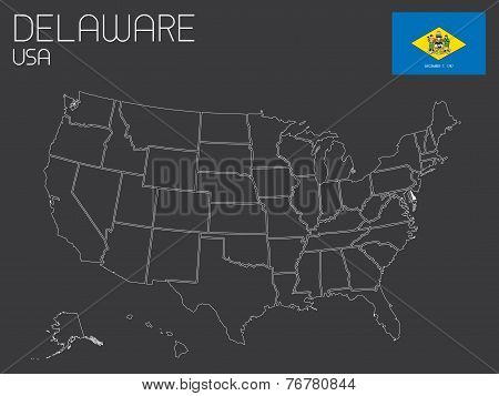 Map Of The The United States Of America With 1 State Selected - Delaware