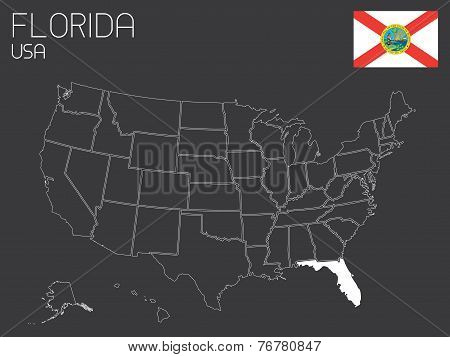 Map Of The The United States Of America With 1 State Selected - Florida