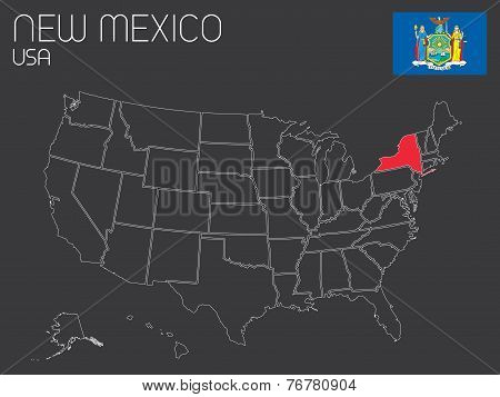 Map Of The The United States Of America With 1 State Selected - New York