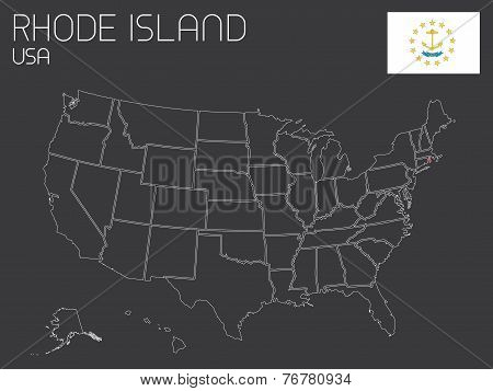Map Of The The United States Of America With 1 State Selected - Rhode Island