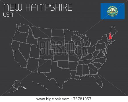 Map Of The The United States Of America With 1 State Selected - New Hampshire