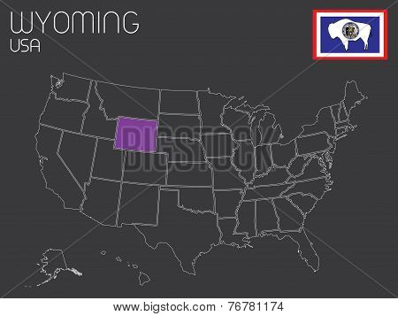 Map Of The The United States Of America With One State Selected - Wyoming